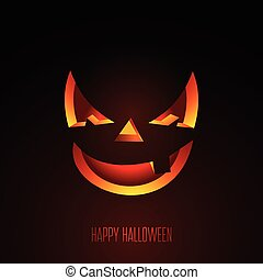 Happy Halloween vector illustration with creepy pumpkin face...