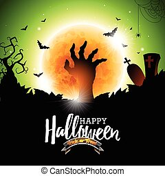 Happy Halloween vector illustration with bats, zombie hand...