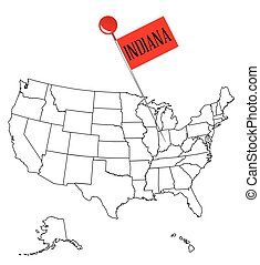 Knob Pin Indiana - An outline map of USA with a knob pin in...