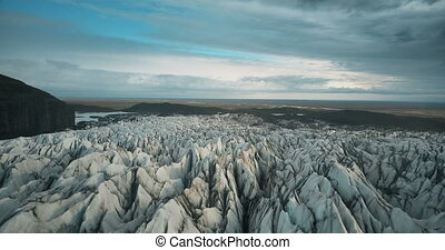 Scenic aerial view of the ice valley in Iceland national...