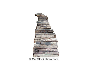 wooden walkway on a white background.