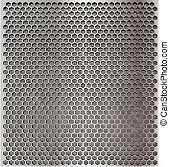 metal cell - metallic background with a hexagonal mesh top