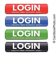 Login website glossy buttons set