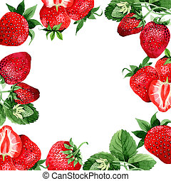 Strawberry wild fruit frame in a watercolor style. -...