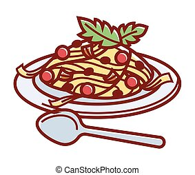 Delicious Italian carbonara on plate with spoon illustration...