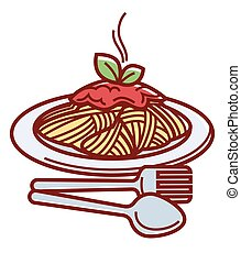 Hot spaghetti with delicious bolognese sauce and cutlery....