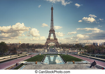 Eiffel Tower seen from Trocadero Gardens - Eiffel Tower and...