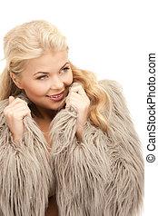 beautiful woman in fur