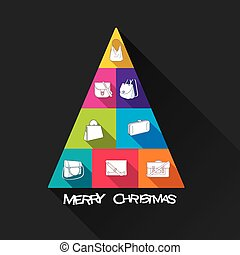 creative merry christmas tree design