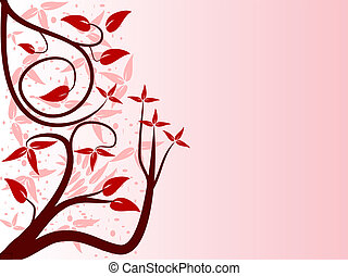 A red abstract floral background