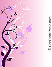 An abstract mauve floral design with stylised trees in...