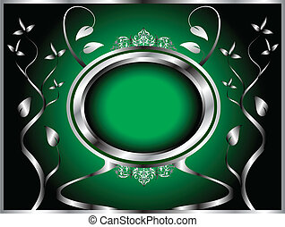 A green and silver floral design