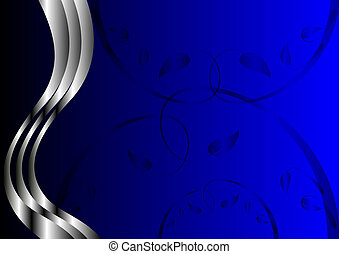 A Blue and Silver Floral Design with room for text