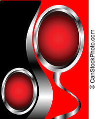 Abstract red and silver business card template
