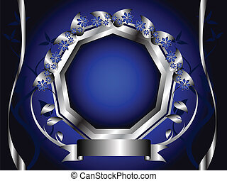 A blue and silver floral design