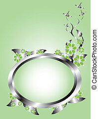 A silver and green floral template