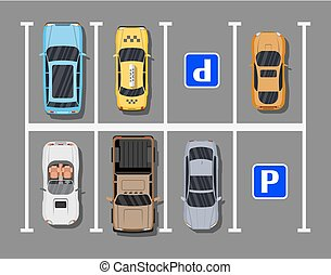 City parking lot with different cars. Shortage parking...