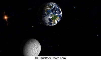 Moon and Earth in Space. Shiny lighting effects, stars,...