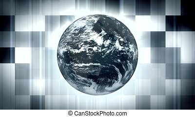 Spinning World on Checkerboard Background