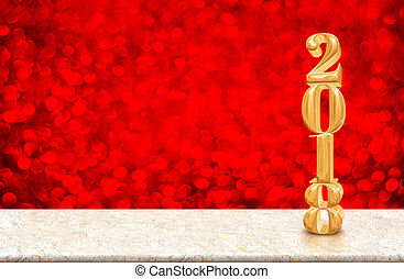 New Year 2018 gold glossy number ( 3d rendering ) on marble...