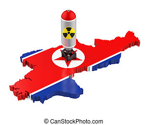 North Korea Map with Nuclear Weapon isolated on white...