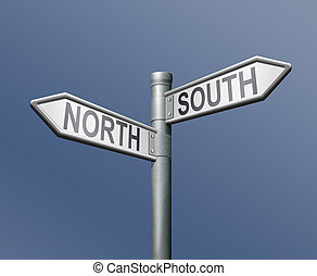 roadsign north south - north south road sign on blue...