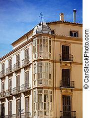 Bay Windows in Old Plaster Building in Malaga