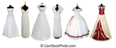 Collection of various types of wedding dresses