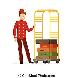 Smiling bellhop character wearing red double breasted...