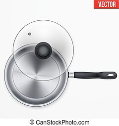 Classic stainless steel fry pan with opened glass lid and...