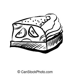 Sketch of Food - Hand Drawn Sketch of Apple Pie Piece. Hand...