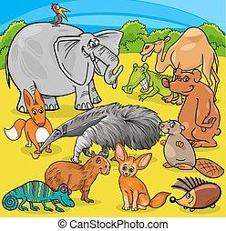grupo, caricatura, caráteres, animal