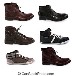 Collection of various types of male shoes