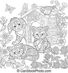 Zentangle stylized dog and cats - Coloring page of puppy,...