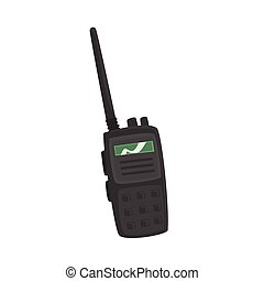 Portable handheld radio cartoon vector Illustration on a...