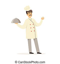 Friendly male chef character in uniform holding platter...