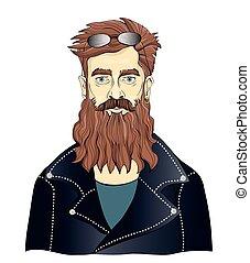 A bearded man in black leather jackets. Moto Biker or fan of...