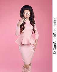 Fashion photo of beautiful young sexy woman in pink dress...