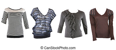 Collection of various types of female shirts