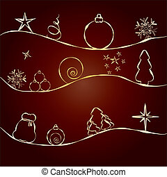 Brown Christmas Card with golden pattern with stars, fir trees, balls and baubles, greetings card for December Holidays, vector illustration