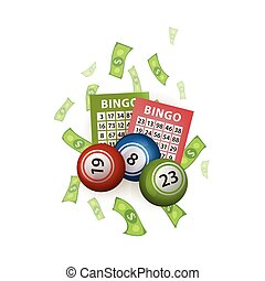 vector flat bingo lottery balls, tickets, money - vector...