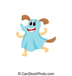 Dog, puppy character in a ghost Halloween outfit