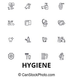 Hygiene, cleaning, washing hand, personal hygiene, soap, sanitation, cleaner line icons. Editable strokes. Flat design vector illustration symbol concept. Linear signs isolated