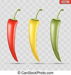 Set of hot chili peppers - Set of chili peppers. Spicy red...