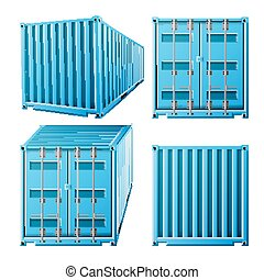 Blue Cargo Container Vector. Realistic 3D Metal Classic...