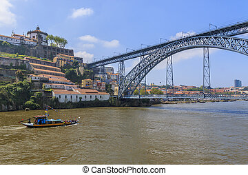 Douro River - Douro river with Rabelo boat and bridge D....