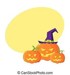 Three Hallowing jack o lanterns, pumpkins in pointed witch...