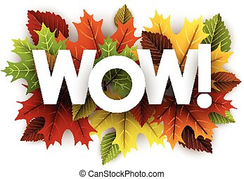 Autumn wow background with leaves. - White wow background...