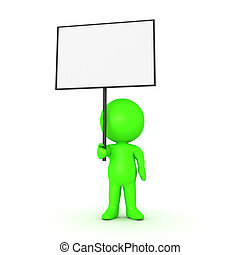 Green 3D Character holding a blank sign placard. Isolated on...