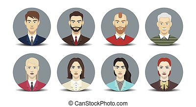 set of men and women. portraits of icons. vector illustration
